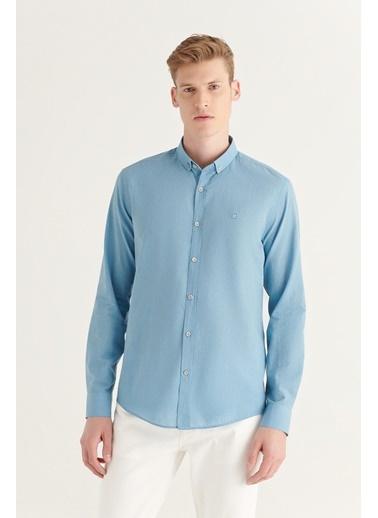Avva  Erkek Vizon Düz Düğmeli Yaka Slim Fit Uzun Kol Vual Gömlek A11B2206 İndigo
